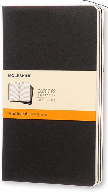 3 دفاتر ملاحظة مسطرة Moleskine - Set 3 Notebooks - 80 صفحة / أسود