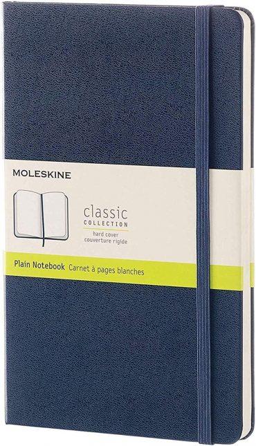دفتر ملاحظات غير مسطر Moleskine - Classic Plain Paper Notebook - A5 - 240 صفحة / أزرق ياقوتي