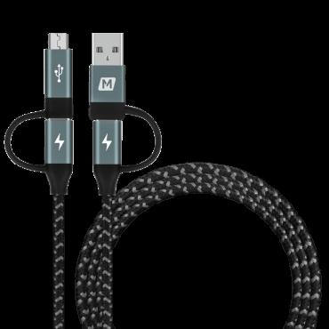 كابل USB A/C TO MICRO USB / USB-C - موماكس