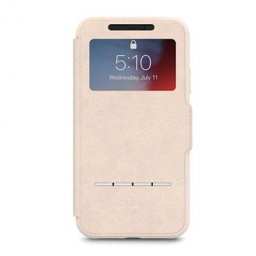 كفر قابل للطي مع نافذة أمامية شفافة Moshi - iPhone XR SenseCover Case بيج