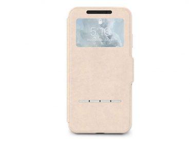كفر قابل للطي مع نافذة أمامية شفافة Moshi - iPhone XS/X SenseCover Case بيج