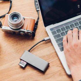 محول USB-C إلى منافذ متعددة من MOSHI - رمادي