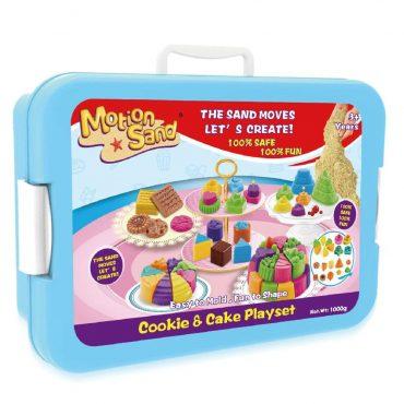 مجموعة الكيك من لعبة صلصال الرمل السحري مع دلو مميز 1.5KG Deluxe Bucket Cookie & Cake Playset - Motion Sand