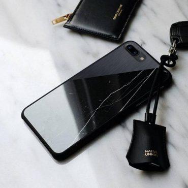 حافظة رخامية معدنية - سوداء - لهواتف ايفون 8 بلس / 7 بلس من ناتف يونيون