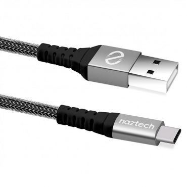 كابل مجدول USB-A إلى USB-C 2.0 NAZTECH - أسود