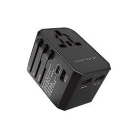 Powerology Universal Travel Adapter 2.4A + PD 45W - Black