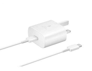 شاحن حائط Samsung Travel Adapter 25W 3 pin with USB Type-C to Type-C Cable - أبيض