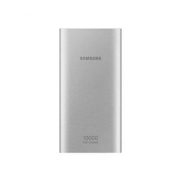 باور بانك سامسونج اللاسلكي 10000mAh بمنفذ USB C مزدوج – فضي
