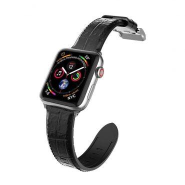سوار ساعة أبل الجلدي X-Doria Hybrid Leather Band for Apple Watch 42mm/44mm - Black Croc