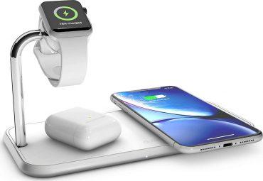 شاحن Dual and Watch Aluminium Wireless Charger ZENS - أبيض