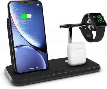شاحن لاسلكي Stand+Dock+Watch Aluminium Wireless Charger 10W ZENS - أسود